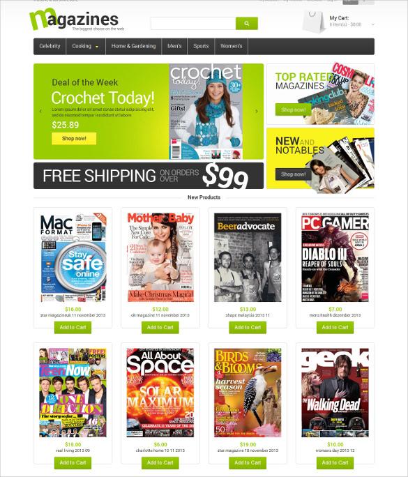 glossy magazines magento template