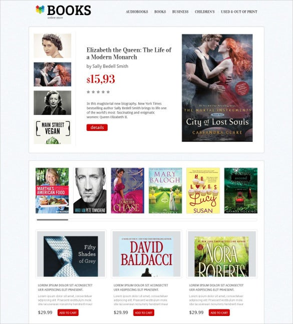 online books magazines store magento theme