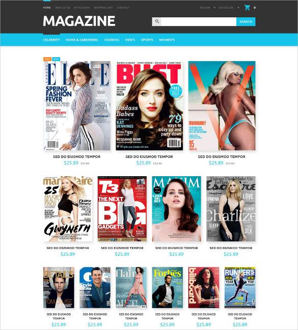 magazines store opencart theme