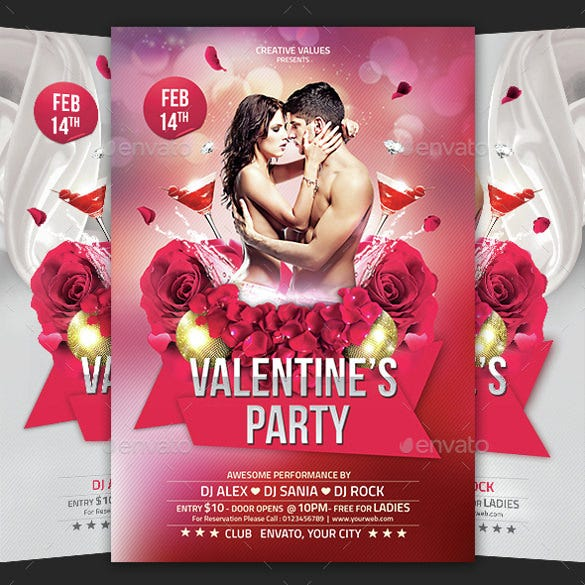 valentines day party flyer template 2 psd files
