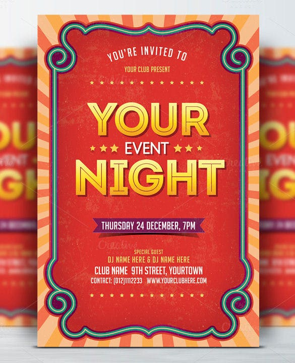 event night flyer template fully layered psd
