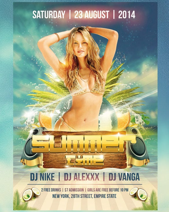 summer time free event flyer psd template