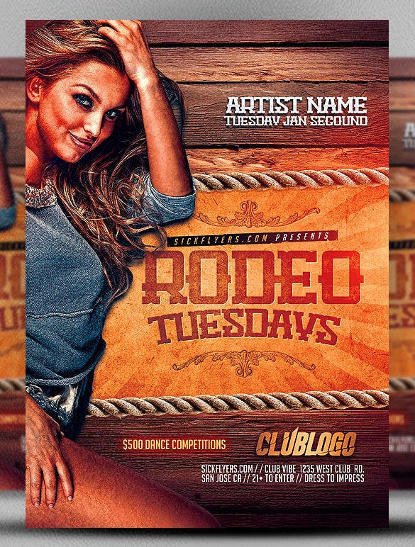 rodeo tuesday event flyer template premium download