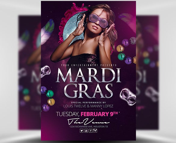 mardi gras event flyer template psd download
