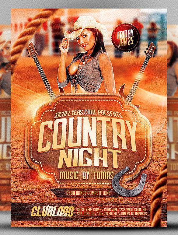 country night club event flyer template psd design