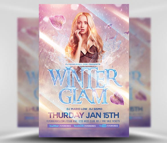 download winter glam event flyer template psd format