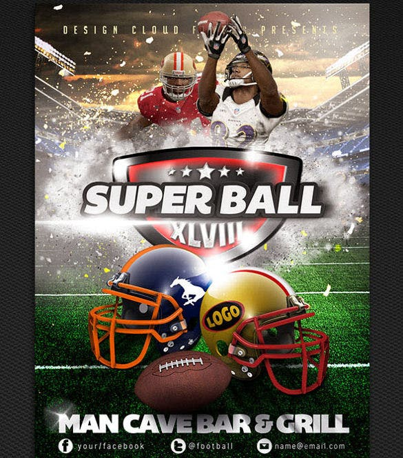 super bowl event flyer template bundle psd download