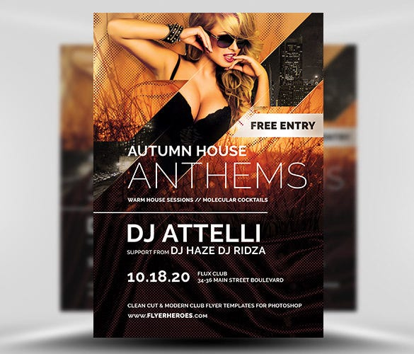 download psd format autumn anthems event flyer template
