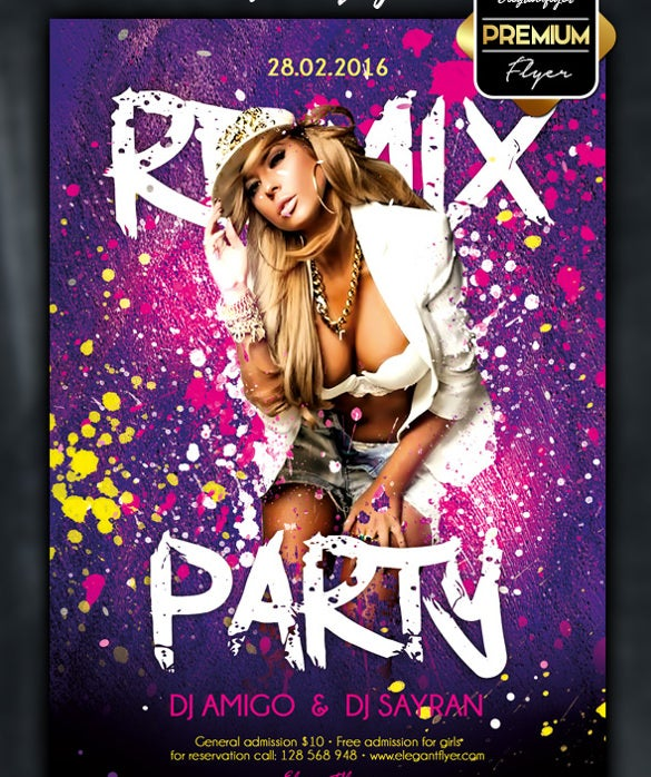 download remix party event flyer psd template