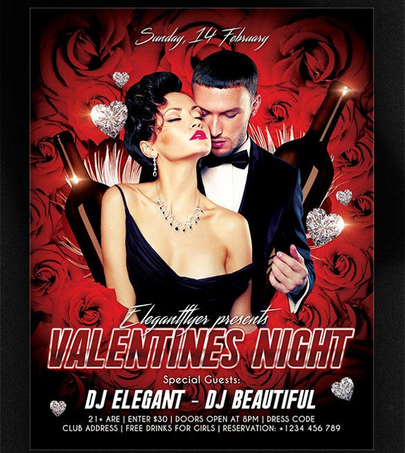 valentines night event flyer psd template download