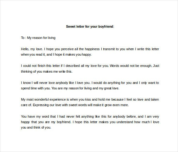 Love Letter To Boyfriend  Free Sample Example Format