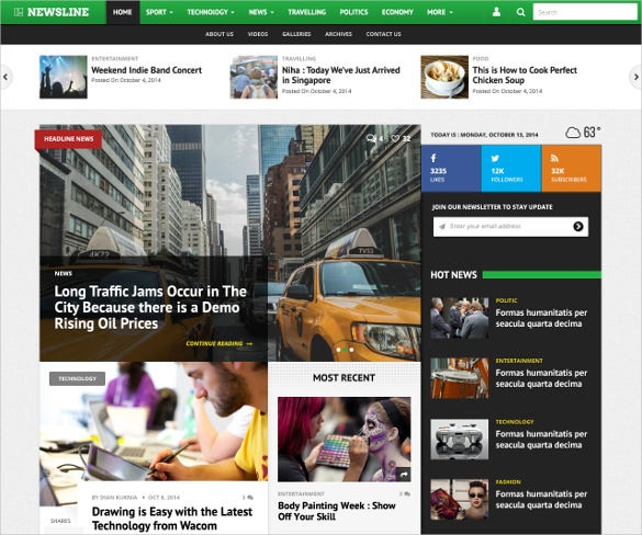 newsline magazine psd theme