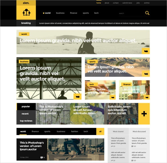 colorful magazine psd theme
