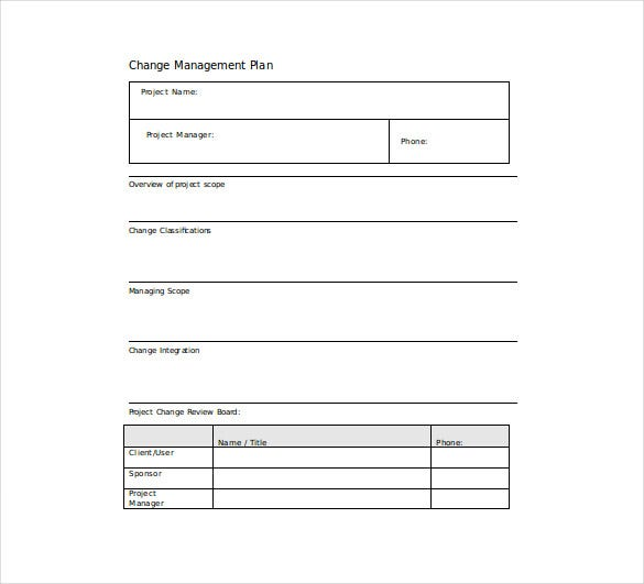 scope change management plan word format free download