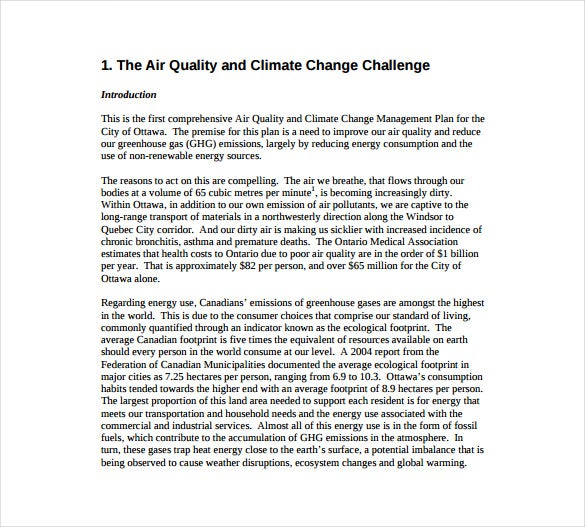 air quality and climate change management plan example template free download