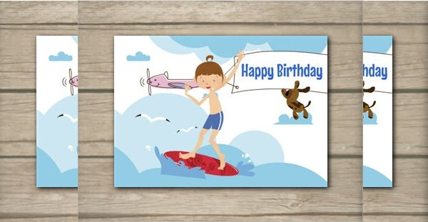 Printable Summer Surfer Birthday Card