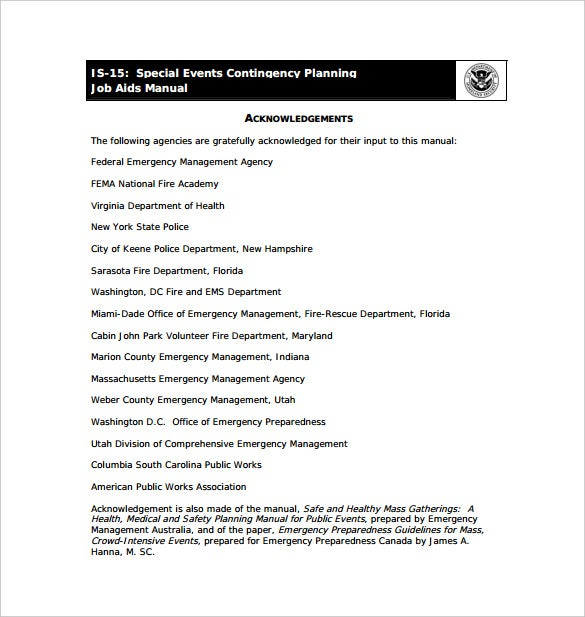 special events contingency plan pdf format free download