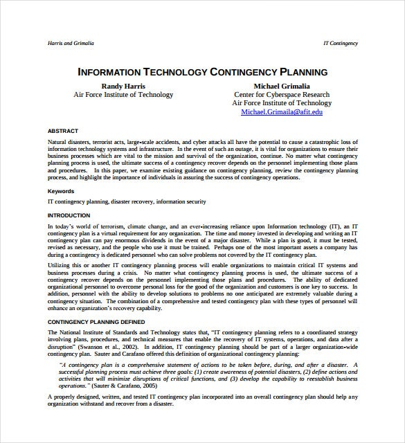 information technology contingency plan example template free download