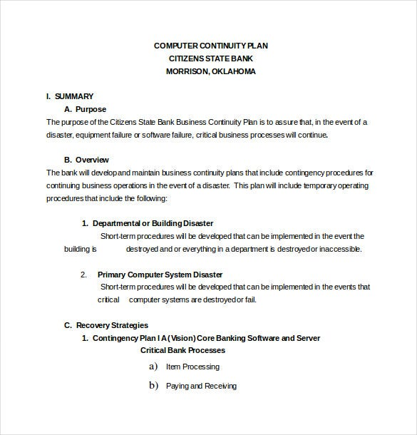 13 Contingency Plan Templates Free Sample Example Format – Business Contingency Plan Example