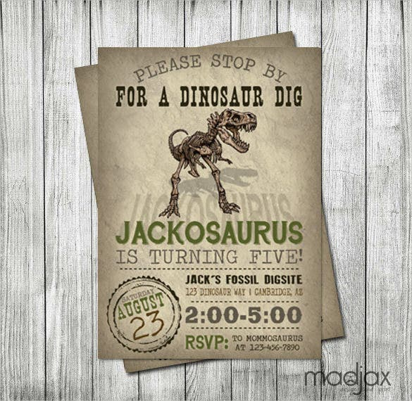 Fossil Dinousaur Birthday Invitation Digital File