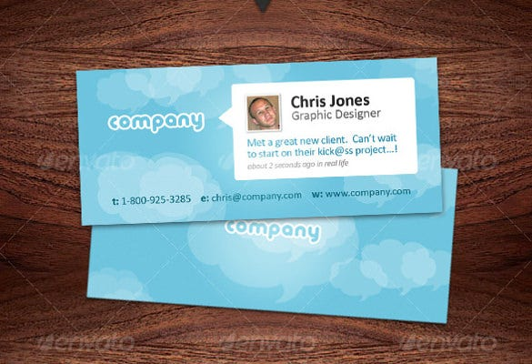mini designer business cards twitter style