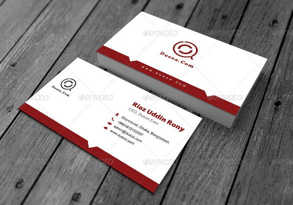 white red business card