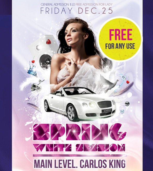 spring white session flyer psd template free