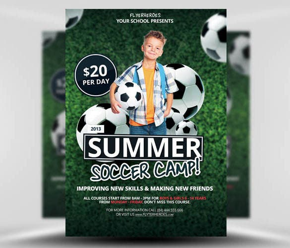 summer soccer camp flyer template free download