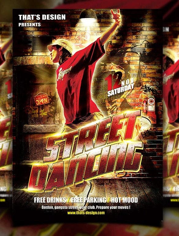 download street dancing flyer template psd for free