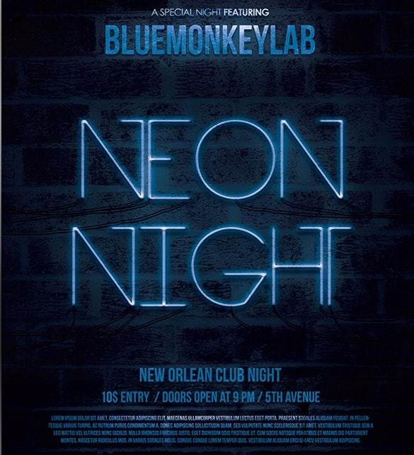 free neon night flyer template psd download