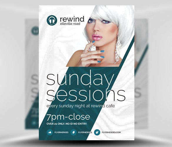 sunday sessions free flyer template psd design download