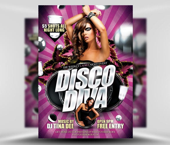 disco diva free flyer template psd download for free