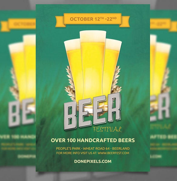 the beer festival free flyer template psd download