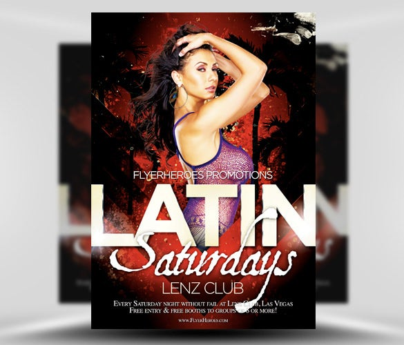 free latin night flyer psd template download