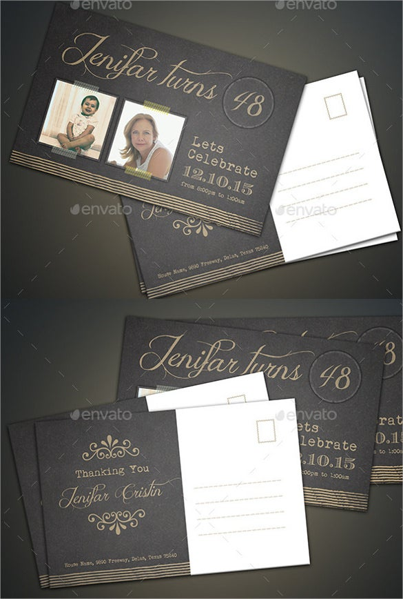 black color psd birthday invitation postcard template