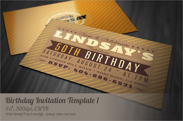 creative postcard birthday invitation card template with retro style