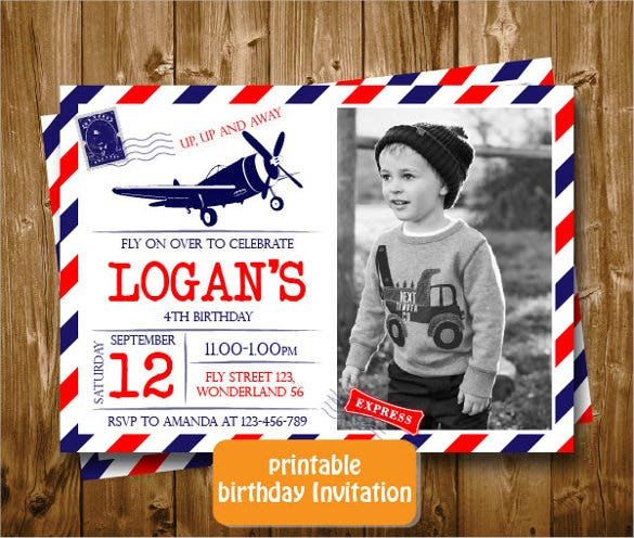 vintage airplane printable postcard birthday invitation
