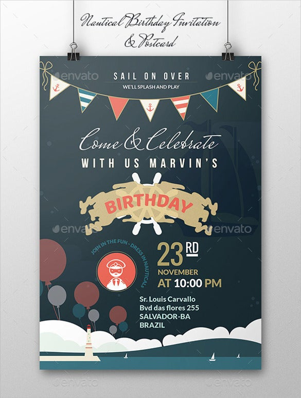 Nautical Postcard Birthday Invitation Template