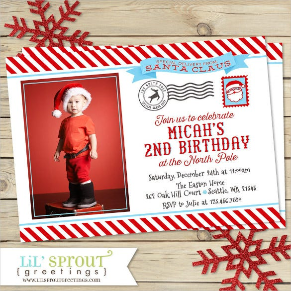 santa themed postcard birthday party invitation