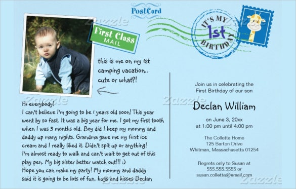 blue postcard birthday invitation template