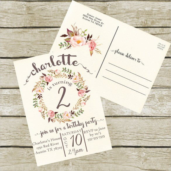 simple postcard birthday party invitation for girls printable