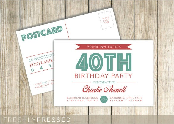 postcard birthday invitation template for adults