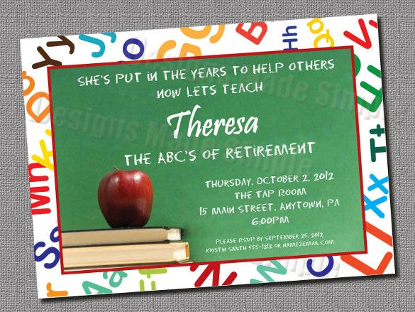 teacher retirement party invitation custom printable