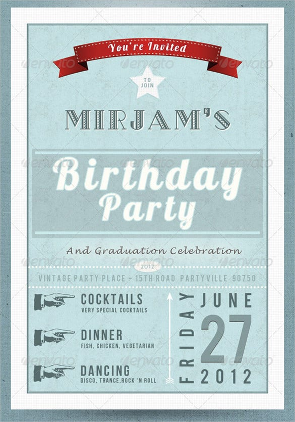 vintage retro birthday invitation postcard