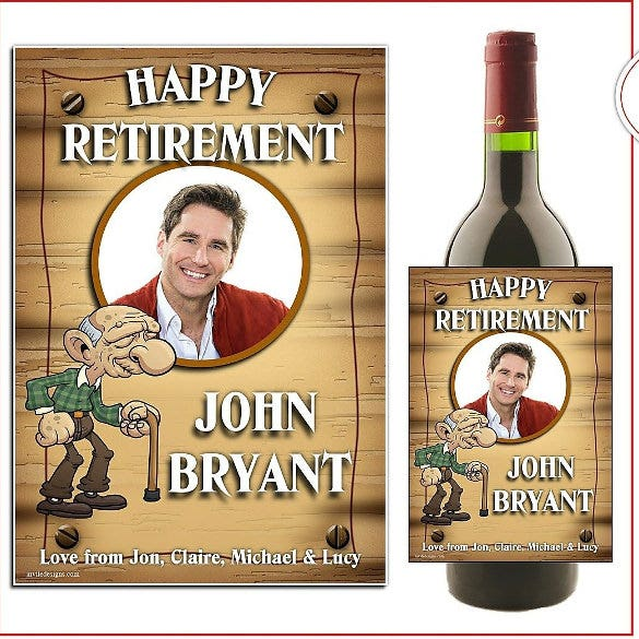 personalised wine champagne bottle label happy retirement