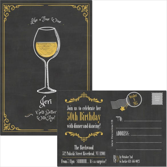 custom wine printable postcard birthday invitation