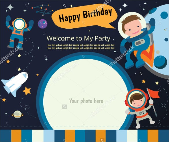 space themed postcard birthday invitation card design