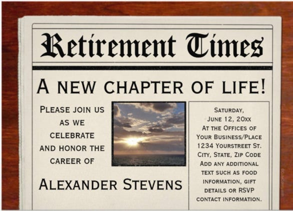 retirement party fun newspaper invitation