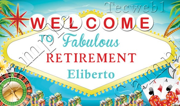 retirement banner personalized vinyl w grommets