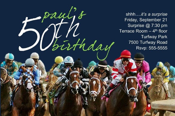 horse racing birthday retirement milestone party invitation